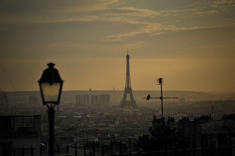 Sunset view of paris looking over the skyline at the Eiffel Tower