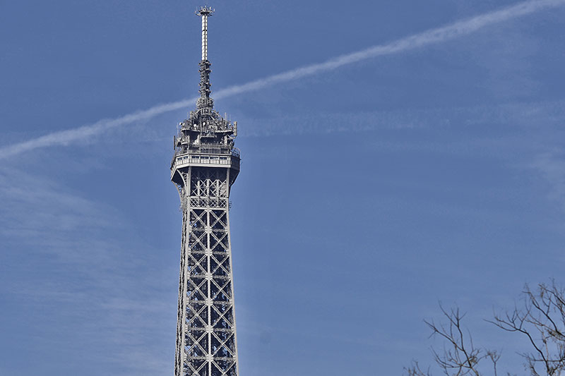 Paris Eiffle tower with blue sky.