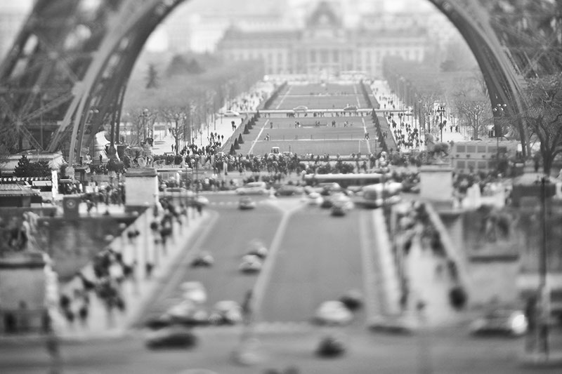Free lensing, with Nikon and a 135mm lens, image of the base of the Eiffel tower