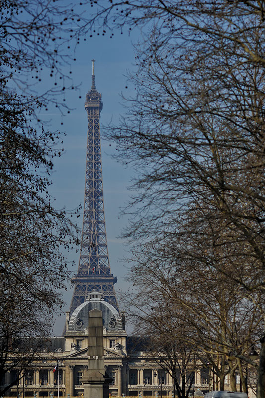 Unusual angle of the eiffel tower in winter
